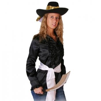 Zwarte piraten ruches shirt voor dames