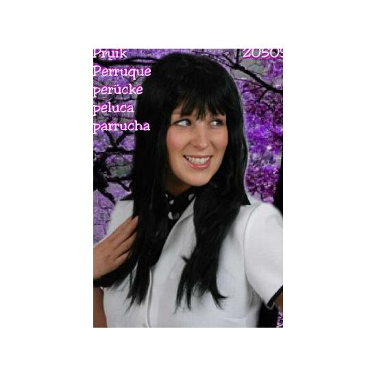 Zwarte pruik met lang stijl haar