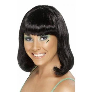 Zwarte pruik voor dames met kort haar