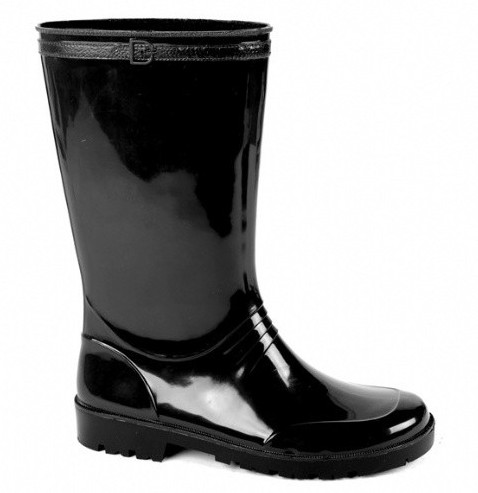 Zwarte pvc regenlaarzen voor dames