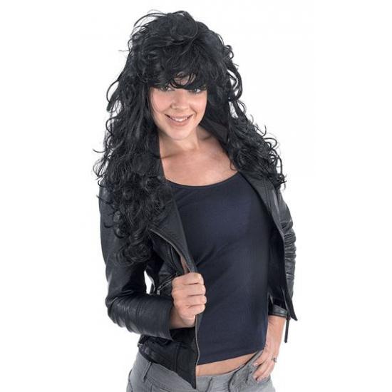 Zwarte rock chick pruik