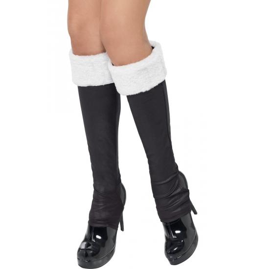 Zwarte schoenhoezen met wit bont randje