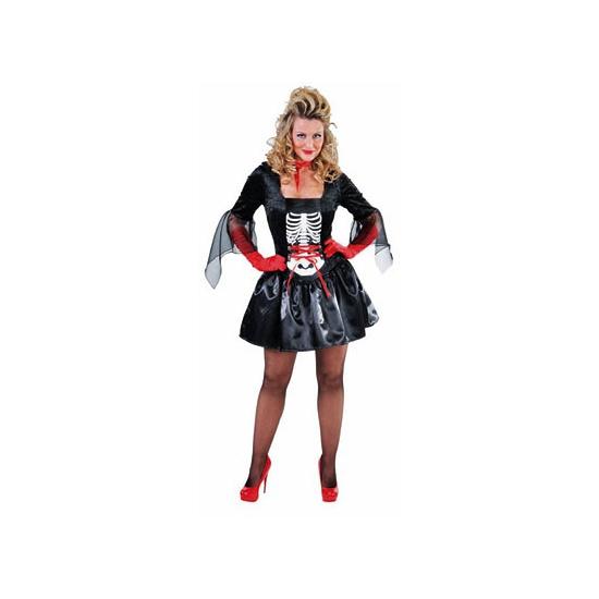 Zwarte skelet jurk voor dames