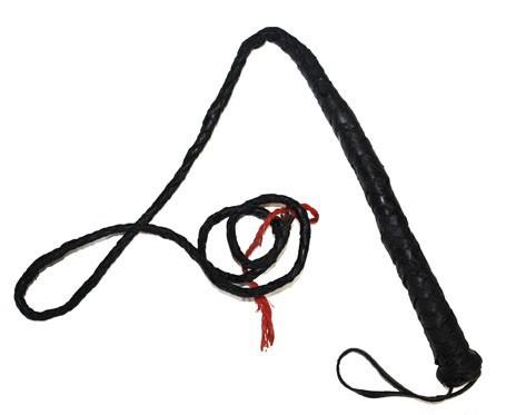Zwarte zweep met handvat 120 cm