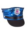 Blauw glimmende politie pet