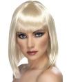 Blonde damespruik half lang