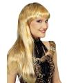 Blonde lange pruik met luipaardprint