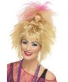 Blonde roze 80s damespruik