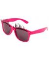 Bril met wimpers neon roze