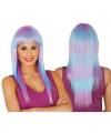 Dames pruik lang haar paars blauw