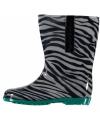 Dames regenlaarzen met zebra motief groen