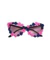 Damesbril met roze en blauwe bloemetjes