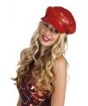 Disco hoed rood met pailletten