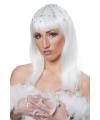 Disco pruik wit met steentjes