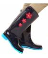 Donkerblauwe regenlaarzen met rode bloemetjes