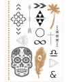 Doodshoofd metallic zwart plak tatoeages