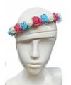 Festival bloemen hoofdband rood wit blauw