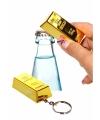 Flesopener goudstaaf sleutelhanger