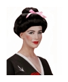 Geisha pruik met roze strikje