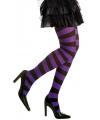 Gestreepte panty paars zwart neon