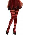 Gestreepte panty rood zwart neon