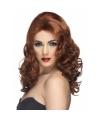 Glamour damespruik bruin met krullen