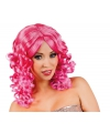 Glamour damespruik roze met krullen