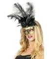 Goud venetiaans oogmasker met zwarte veren