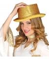 Gouden glitter hoge hoed voor volwassenen