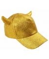 Gouden glitter pet met duivel hoorntjes