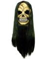 Grijnzende schedel masker met lang haar