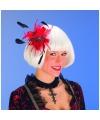 Haarkam met rode veren bloem voor dames