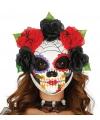 Halloween dames doodshoofd masker met spinnenweb