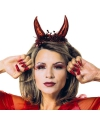 Halloween duivel diadeem metallic rood