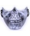 Halloween half gezichtsmasker zilveren schedel