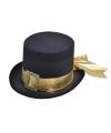 Halloween hoge hoed met goud lint voor volwassenen
