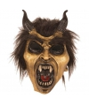 Halloween latex horror masker duivel goud