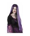 Halloween zwart met paarse heksenpruik voor dames