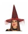 Halloween zwarte heksenhoed met rood spinnenweb