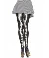 Halloween zwarte panty met ruggengraat print