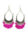 Hippe roze kralen oorbellen
