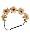 Ibiza haarband met bruine bloemen