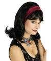 Jaren 60 pruik zwart inclusief haarband