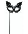 Katten oogmasker op stokje zwart