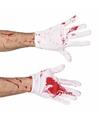 Korte witte handschoenen met bloed