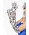 Lange zilveren handschoenen dames