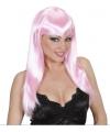 Lichtroze damespruik met lang haar