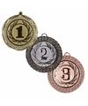 Medailles set goud 1 zilver 2 en brons 3