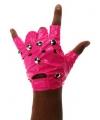 Neon roze punk handschoenen