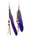 Paarse indianen oorbellen met veren en kralen